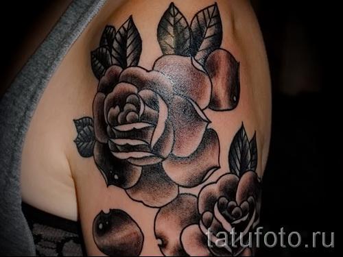 черная роза тату - фото вариант от 15122015 № 5