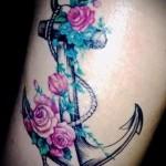 якорь с цветами тату - фото вариант от 21122015 № 2