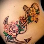 якорь с цветами тату - фото вариант от 21122015 № 3