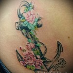 якорь с цветами тату - фото вариант от 21122015 № 6