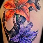 якорь с цветами тату - фото вариант от 21122015 № 7