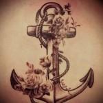 якорь с цветами тату - фото вариант от 21122015 № 8
