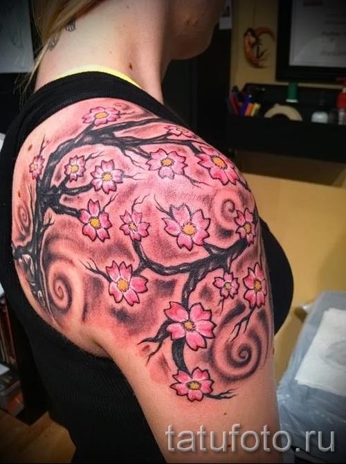японская сакура тату - фото пример от 12122015 № 4