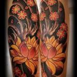 японские цветы тату - фото вариант от 21122015 № 1
