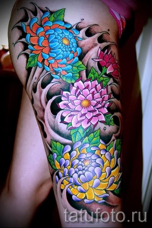 японские цветы тату - фото вариант от 21122015 № 4