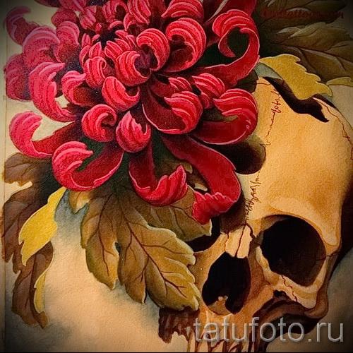 Пример тату хризантема на фото № 15