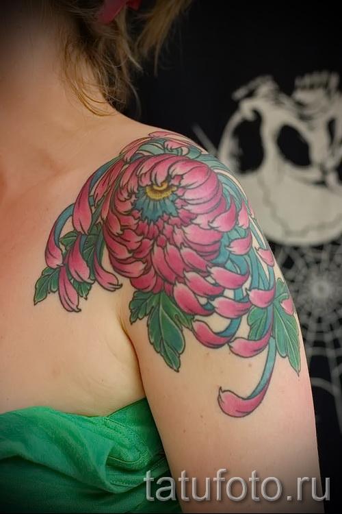 Пример тату хризантема на фото № 31