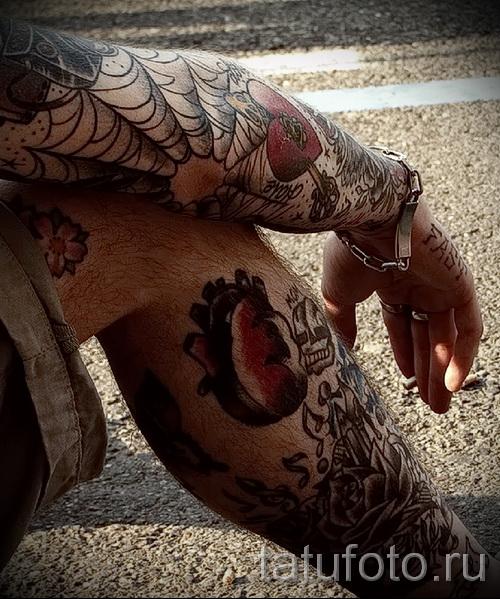 Тату паутина на локте - фото готовой татуировки - 20122015 № 55