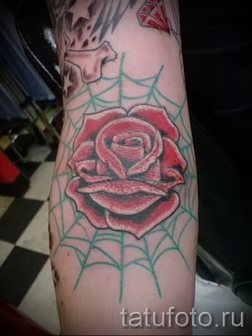 паутина на руке тату - фото готовой татуировки - 20122015 № 6