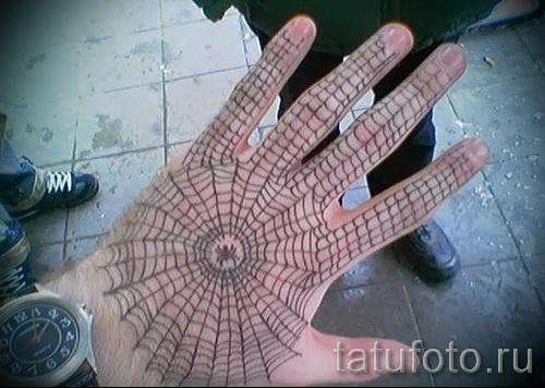 паутина на руке тату - фото готовой татуировки - 20122015 № 7