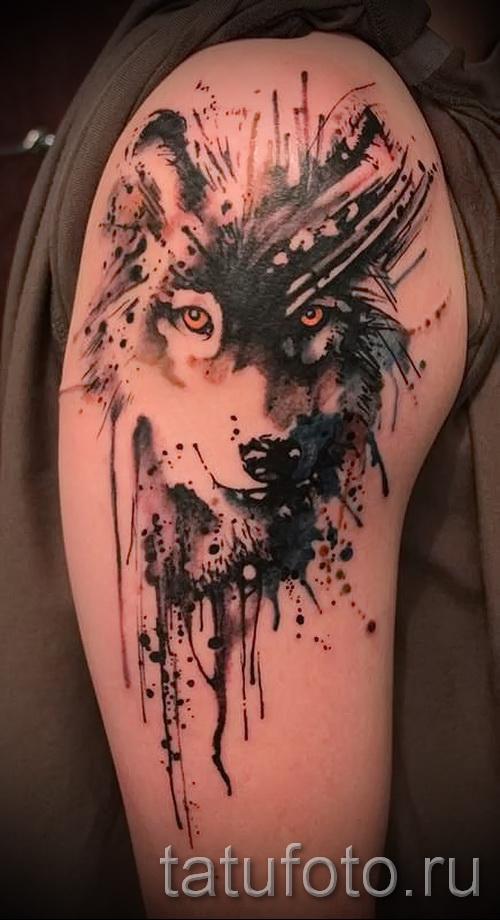 тату абстракция волка - фото пример от 21122015 № 1