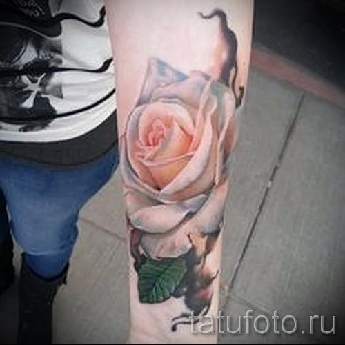 тату белая роза - фото вариант от 15122015 № 3