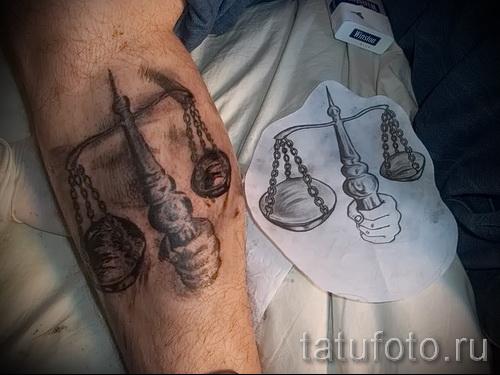 тату знак весы на руке - фото пример от 13122015 № 23