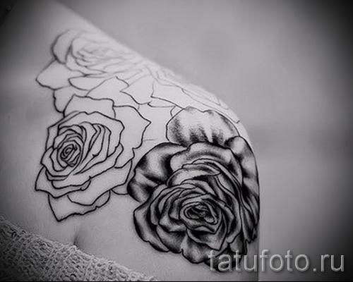 тату контурные розы - фото вариант от 15122015 № 1