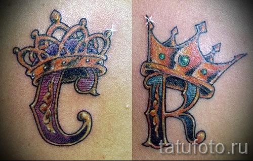 тату корона с буквой - фото готовой татуировки - 20122015 № 10