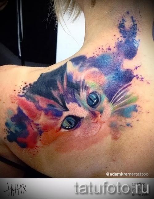 тату кошки в цветах фото- фото вариант от 21122015 № 2