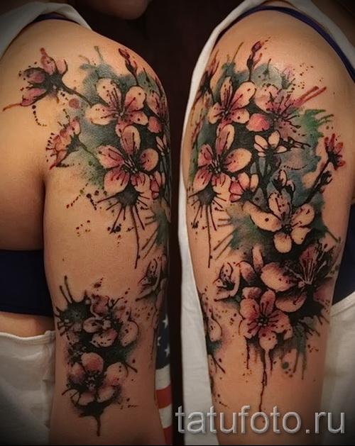 тату красивые цветы - фото вариант от 21122015 № 3