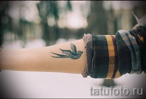 тату ласточка на руке - фото пример 5