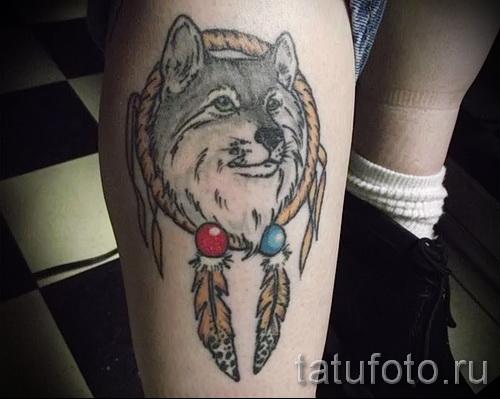 тату ловец снов и волк - фото пример от 11122014 № 14