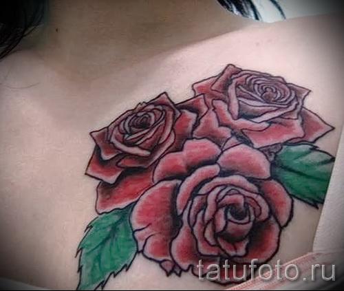 тату на груди розы - фото вариант от 15122015 № 12