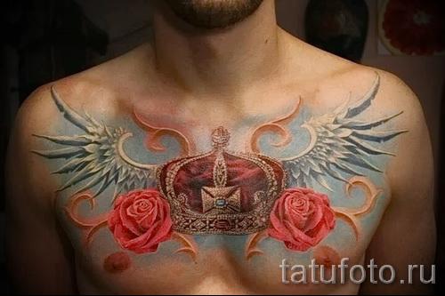 тату на груди розы - фото вариант от 15122015 № 27