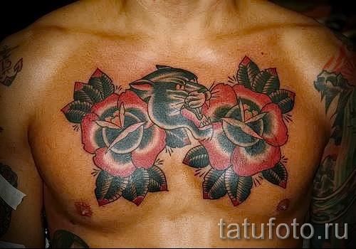 тату на груди розы - фото вариант от 15122015 № 8