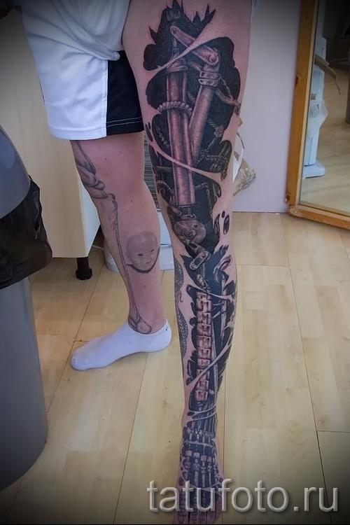 тату на икре ноги биомеханика - фото пример от 20122015 № 14