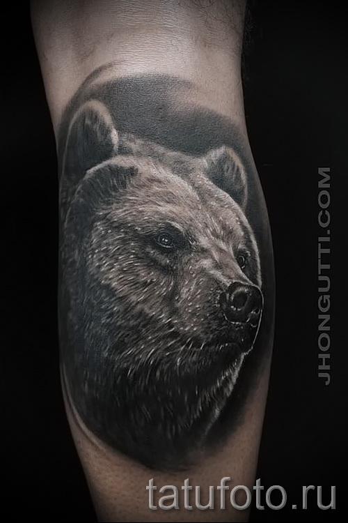 тату на икре ноги медведь - фото пример от 20122015 № 7