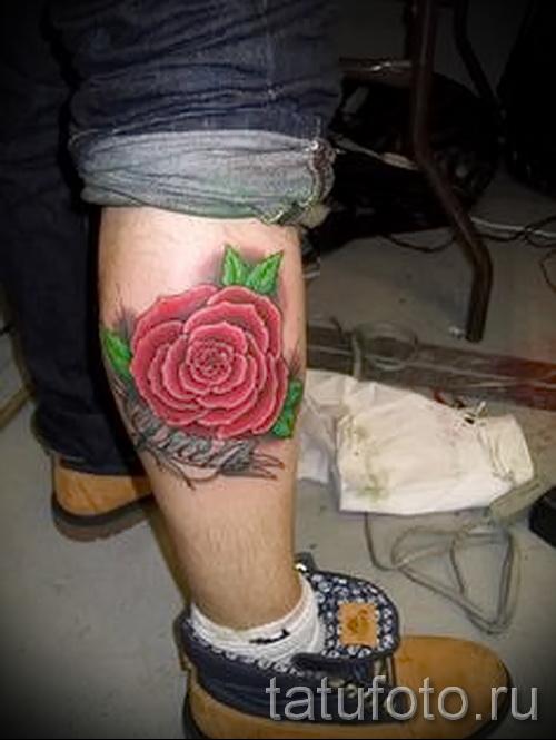 тату на икре ноги розы - фото пример от 20122015 № 10
