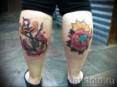 тату на икре ноги розы - фото пример от 20122015 № 5
