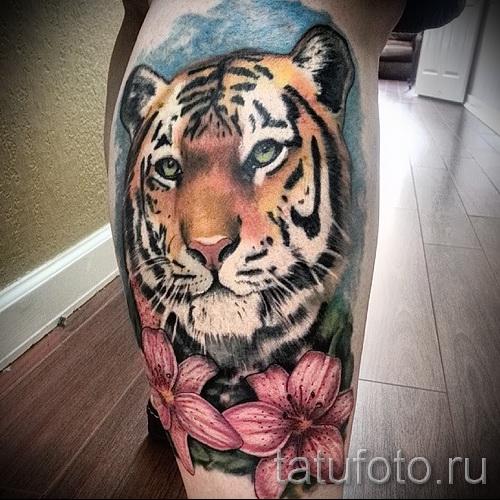 тату на икре ноги тигр - фото пример от 20122015 № 1