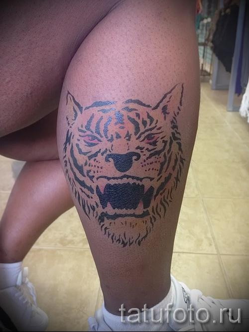 тату на икре ноги тигр - фото пример от 20122015 № 3