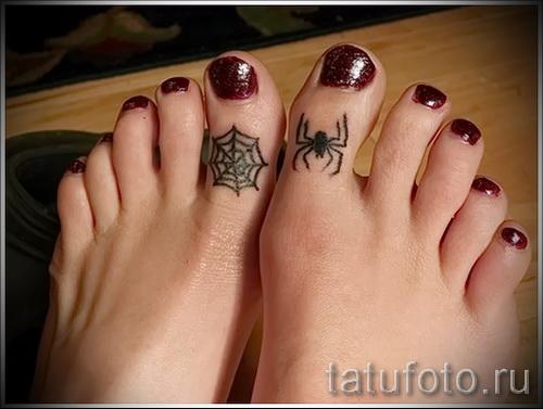 тату паук на паутине - фото готовой татуировки - 20122015 № 22