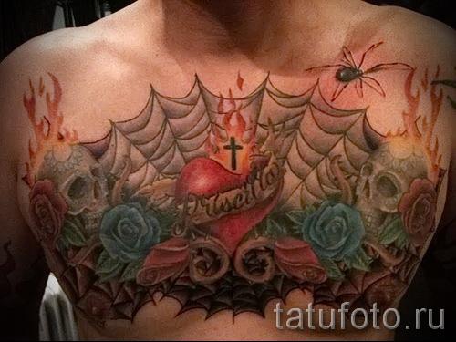 тату паутины на груди - фото готовой татуировки - 20122015 № 3