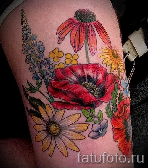 тату полевые цветы - фото вариант от 21122015 № 7