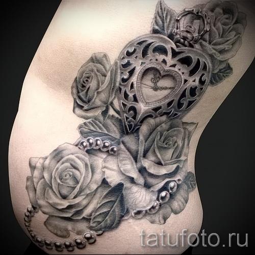 тату роза и часы - фото вариант от 15122015 № 12