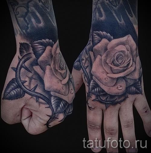 тату роза на кисти - фото вариант от 15122015 № 8