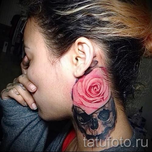 тату роза на шее - фото вариант от 15122015 № 11