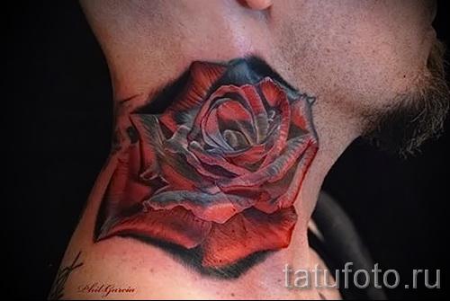 тату роза на шее - фото вариант от 15122015 № 22