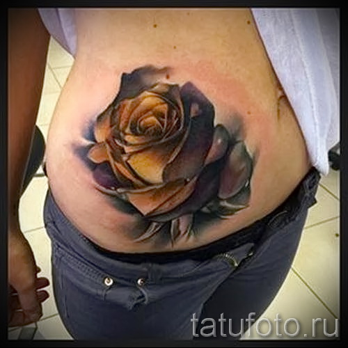 тату розы на животе - фото вариант от 15122015 № 13