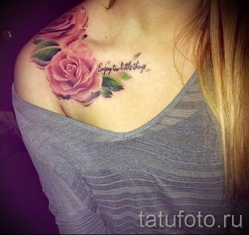 тату розы на ключицах - фото вариант от 15122015 № 3