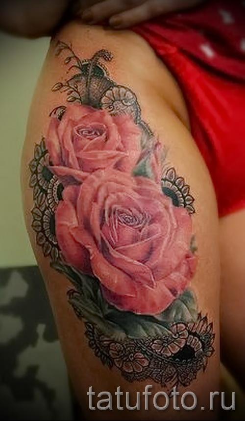 тату розы на ляшках - фото вариант от 15122015 № 4