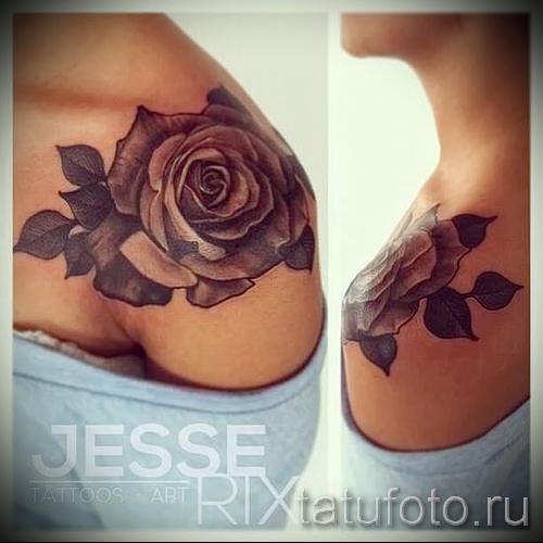 тату розы на плече - фото вариант от 15122015 № 8