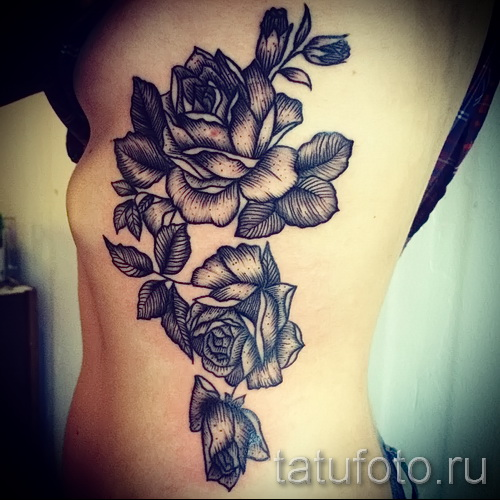 тату розы на ребрах - фото вариант от 15122015 № 2
