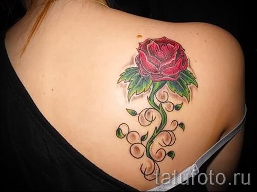 тату розы на спине - фото вариант от 15122015 № 5