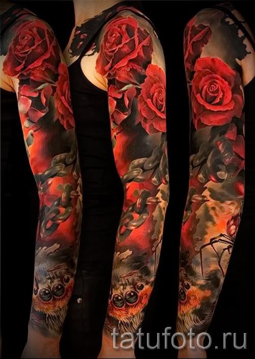 тату рукав цветы - фото вариант от 21122015 № 5