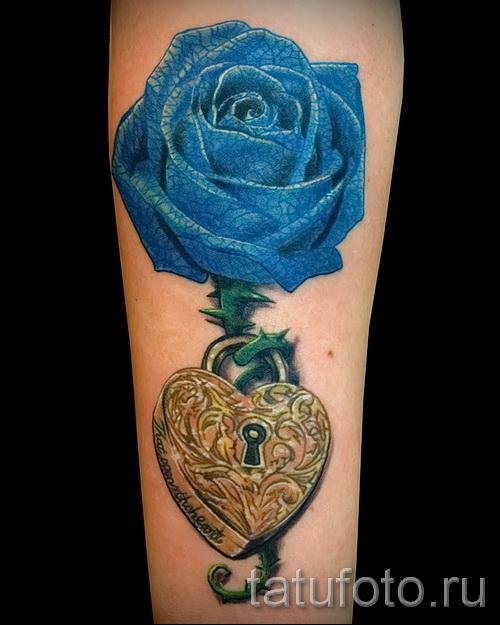 тату синие розы - фото вариант от 15122015 № 8