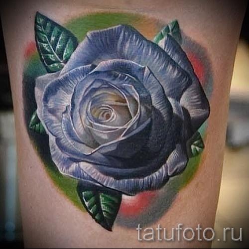 тату синие розы - фото вариант от 15122015 № 9