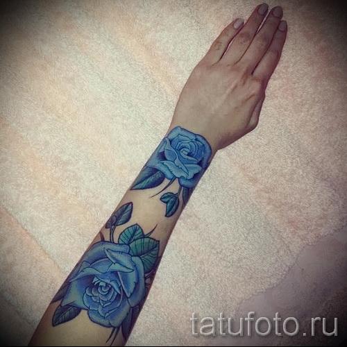 тату синие цветы - фото вариант от 21122015 № 4