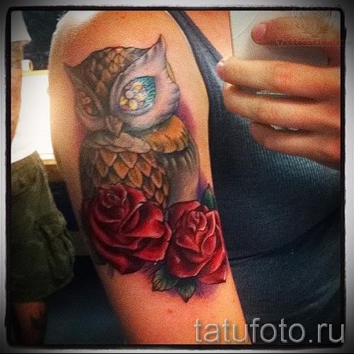 тату сова с розами - фото вариант от 15122015 № 2